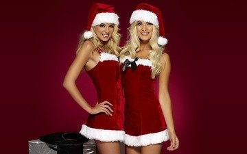 new year, costumes, happy santa girls, cute, blonde, holiday