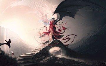 рисунок, меч, мост, ангелы, крылья, любовь, черное, белое, контраст, нафиг разногласия!
