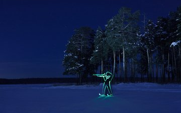 night, forest, winter, olympics, silhouette, biathlon