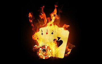 пламя, казино, покер, карты, огонь, тузы