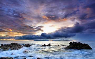 небо, вода, скалы, закат, море, португалия