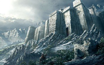 mountains, snow, warrior, castle