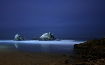 night, the evening, rocks, blue, sea