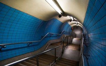 перила, лампы, тунель, ступени