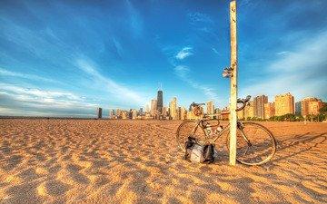 фото, песок, пляж, города, столб, велосипед