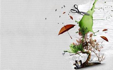 дерево, зонт, фотошоп, коллаж, пингвины, ножницы