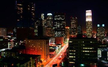 ночь, огни, здания, лос-анджелес, лос анджелес