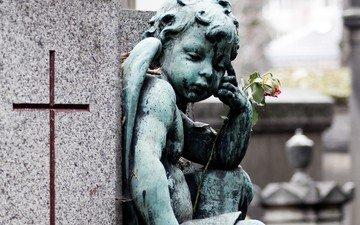 цветок, ангел, крест, скульптура