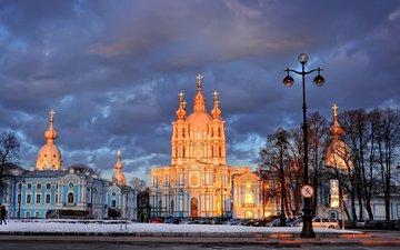 деревья, фонарь, санкт-петербург, смольный собор