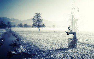 river, snow, nature, winter, style, landscape, fog, ice, feet, basket, purity, garbage, in the snow, half, torso