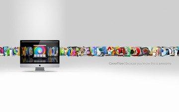 обои, стиль, компьютер, cover flow, фирма, фоновые рисунки, эппл, в стиле