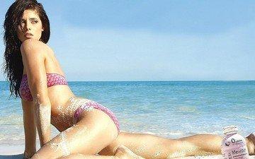 песок, пляж, брюнетка, океан