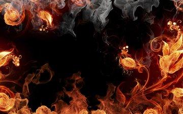 огонь, дым, растение