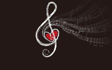 ноты, ключ, сердце, скрипичный, звуки