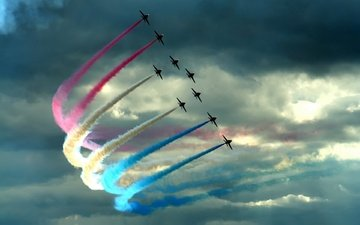 облака, цвет, самолеты, истребители, шлейф