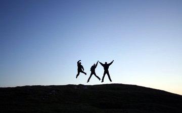 люди, радость, прыжок, в прыжке