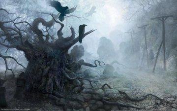 рисунок, камни, мрак, ведьмак, вороны