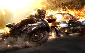 cars, the explosion, motorcycles