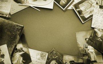 ретро, стол, фотографии