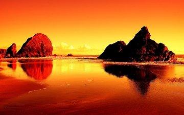 свет, вода, солнце, закат, скала, побережье