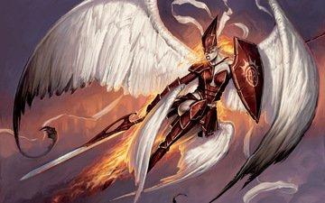меч, огонь, крылья, firemane angel, matt cavotta