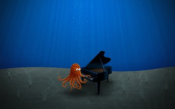 figure, blue, octopus, the bottom, piano