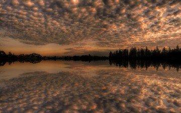 небо, облака, деревья, озеро, отражение