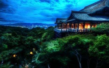 облака, ночь, деревья, лес, храм, киото, дом, японии, буддийский храм