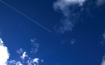 the sky, clouds, the plane, trail