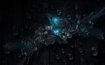 текстура, синий, капли, темный фон