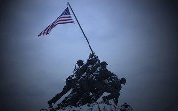 солдаты, америка, флаг, памятник