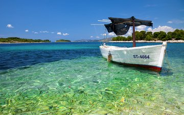 небо, вода, камни, море, острова, лодка