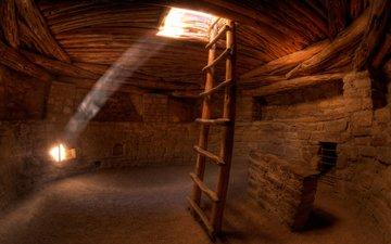 солнце, лестница, песок, стены, креатив, следы, пещера, лучи света