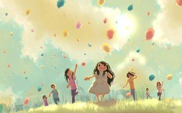 дети, шарики, праздник