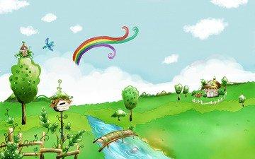 рисунок, детство, лужайка, акварель