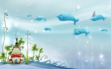 рисунок, мир, детство, акварель, подводный