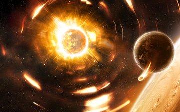 пламя, планеты, жёлтая, planets, космическая