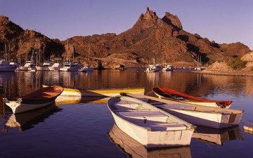 закат, гора, лодки, мексика, гавань