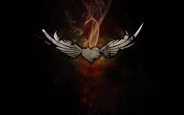 дым, крылья, сердце