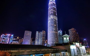 ночь, небоскрёб, гонконг