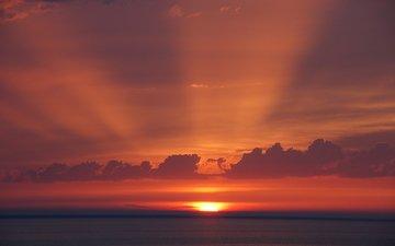 солнце, закат, лучи