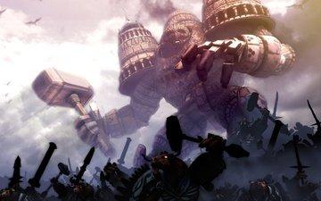 молот, башни, великан, армия, demigod, нападение