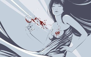 girl, vector, blood, glass