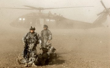 soldiers, dust, helicopter
