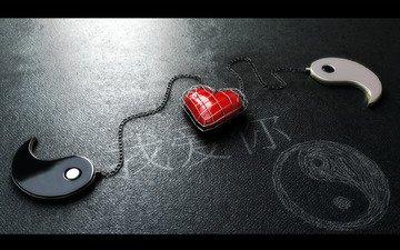 сердце, клетка, инь, цепи, soul mates, янь