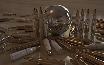 отражение, блеск, шар, патроны, пули, гильзы