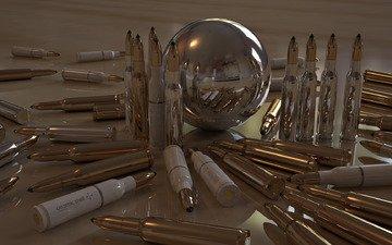 reflection, shine, ball, cartridges, bullets, sleeve