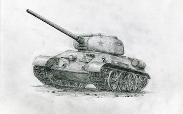 советский танк, карандашный рисунок, т-34