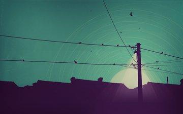 свет, арт, ночь, вектор, луна, дома, минимализм, фонарь, линия, электропередачи