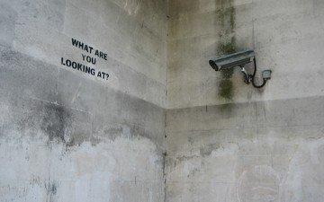 надпись, камера, бетон